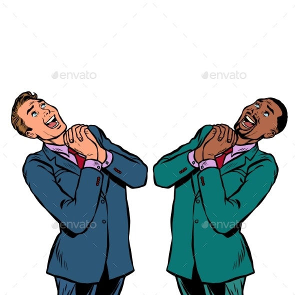 Happy Two Businessman African and Caucasian - Concepts Business