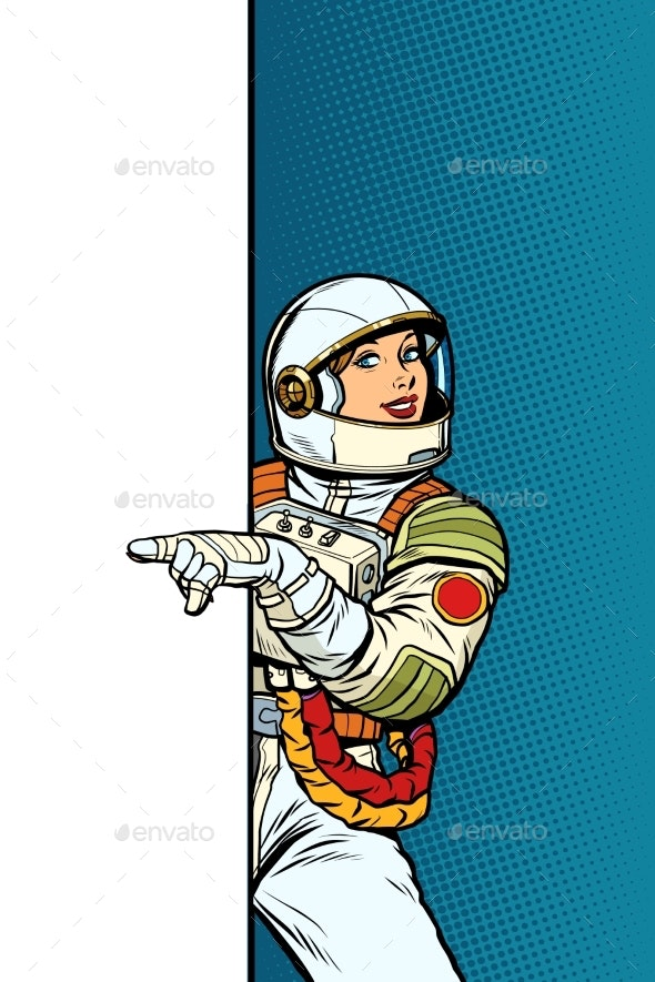 Girl Woman Astronaut. Point To Copy Space Poster - Technology Conceptual