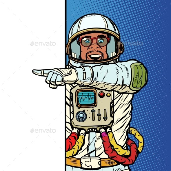 African Man Astronaut. Point To Copy Space Poster