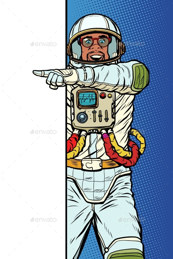 African Man Astronaut. Point To Copy Space Poster - Technology Conceptual