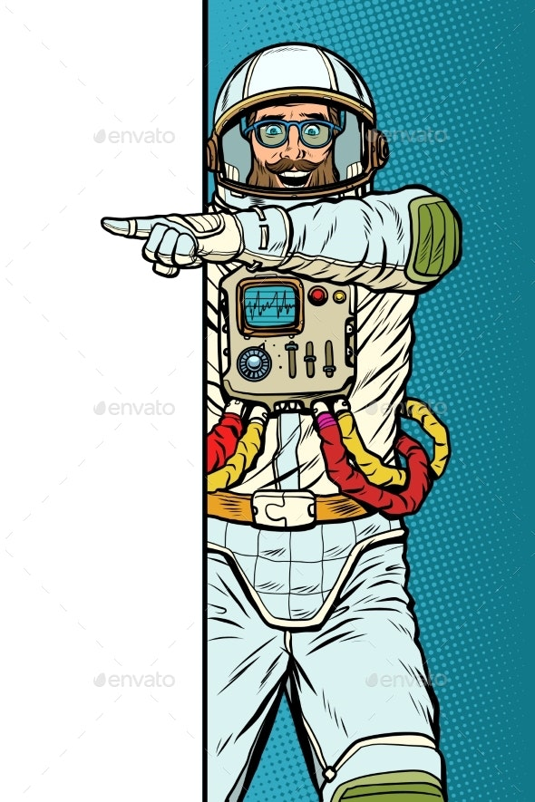 Man Astronaut. Point To Copy Space Poster - Technology Conceptual