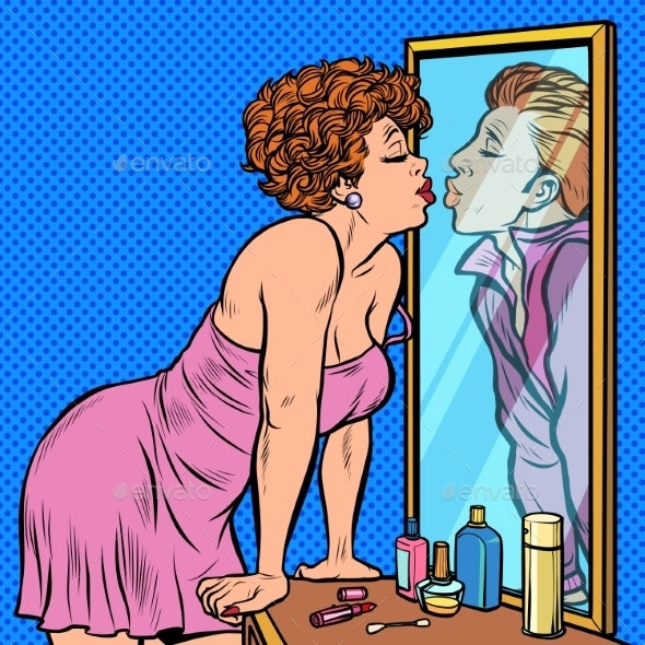 a Woman Kisses a Man, the Reflection in the Mirror - People Characters
