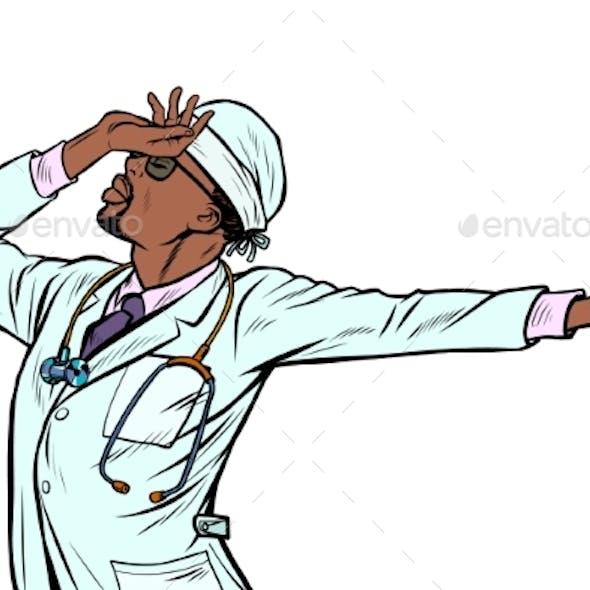 African Doctor Man Medicine. Shame Denial Gesture