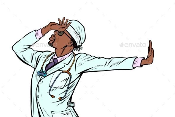African Doctor Man Medicine  Shame Denial Gesture