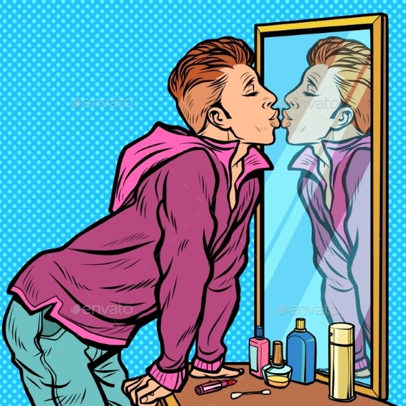 a Man Kisses His Own Reflection, Narcissism Ego - People Characters