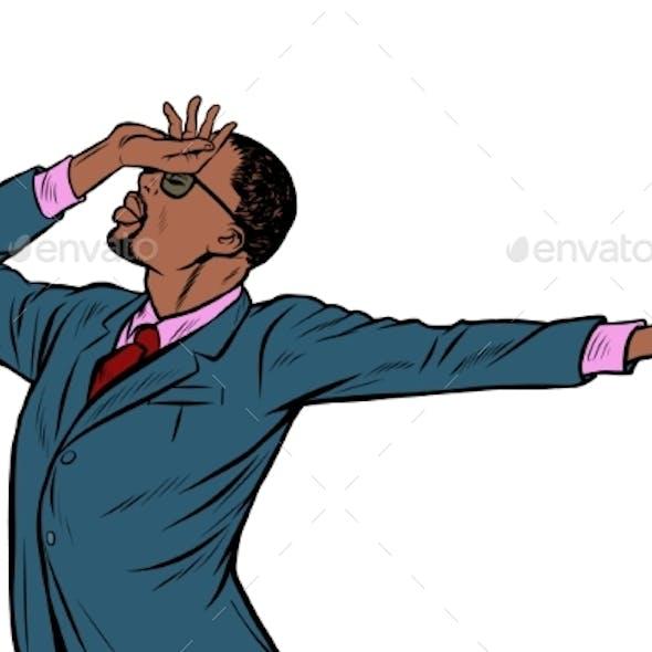 African American Businessman. Shame Denial Gesture
