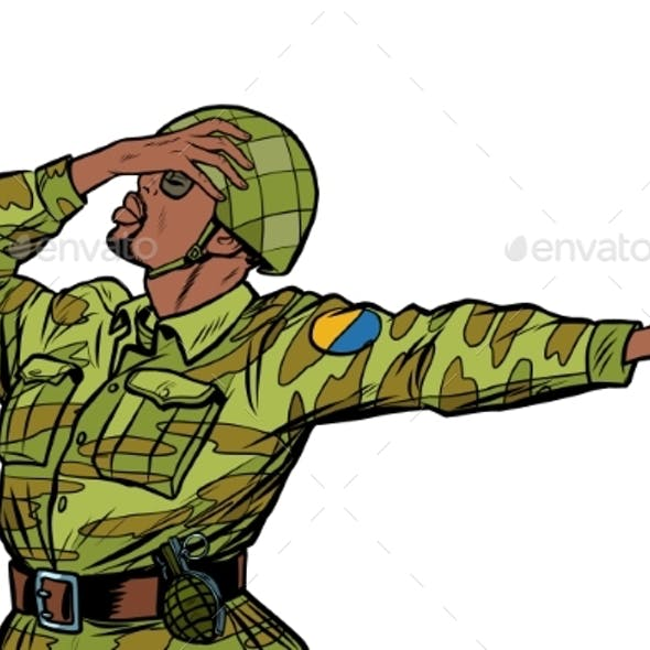 African Soldier in Uniform Shame Denial Gesture No