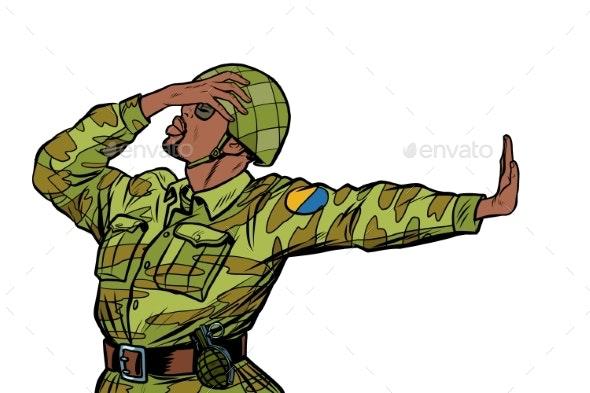 African Soldier in Uniform Shame Denial Gesture No - People Characters