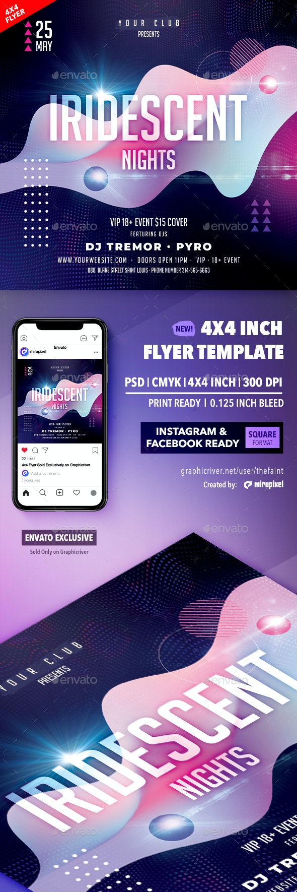 Iridescent Nights 4x4 Inch Flyer Template - Clubs & Parties Events