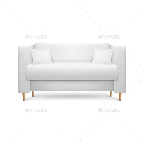 Vector Realistic Render White Leather Luxury Sofa - Man-made Objects Objects