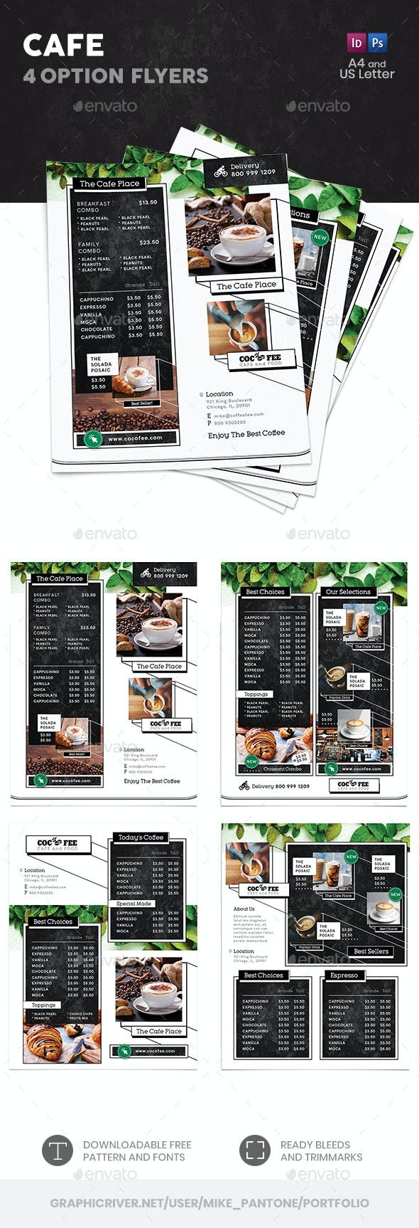 Cafe Menu Flyers 4 – 4 Options - Food Menus Print Templates