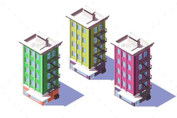 Isometric Mid-rise House with Mini Market - Buildings Objects