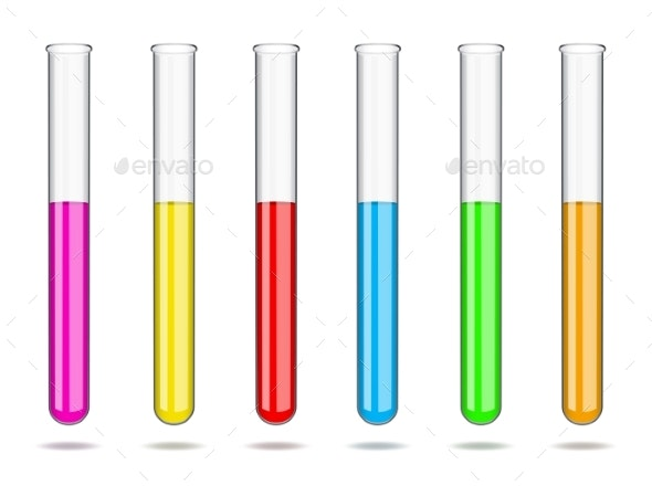 Set of Glass Laboratory Test Tubes with Liquids - Miscellaneous Vectors