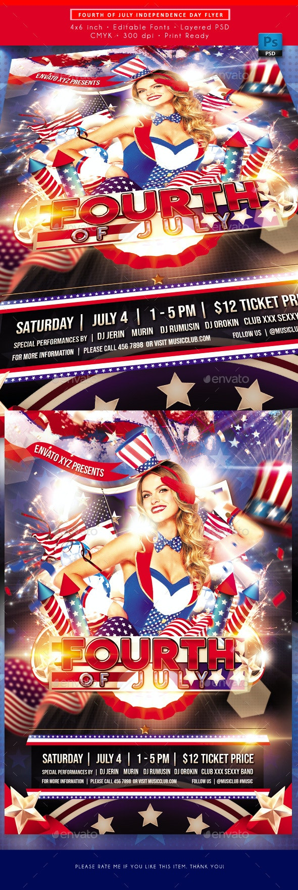 Fourth of July Independence Day Flyer - Events Flyers