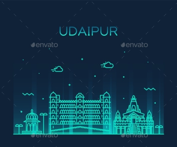 Udaipur Skyline Rajasthan India Vector Line Style - Buildings Objects
