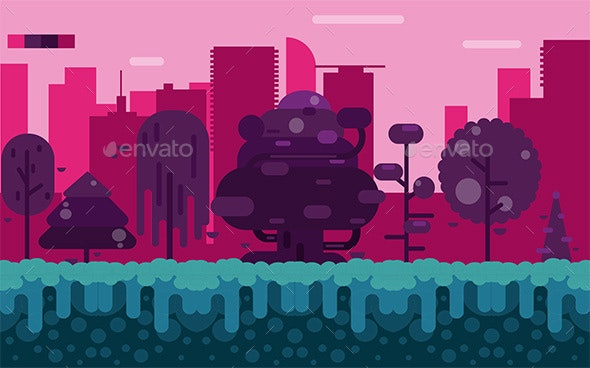 City Forest Background - Backgrounds Game Assets