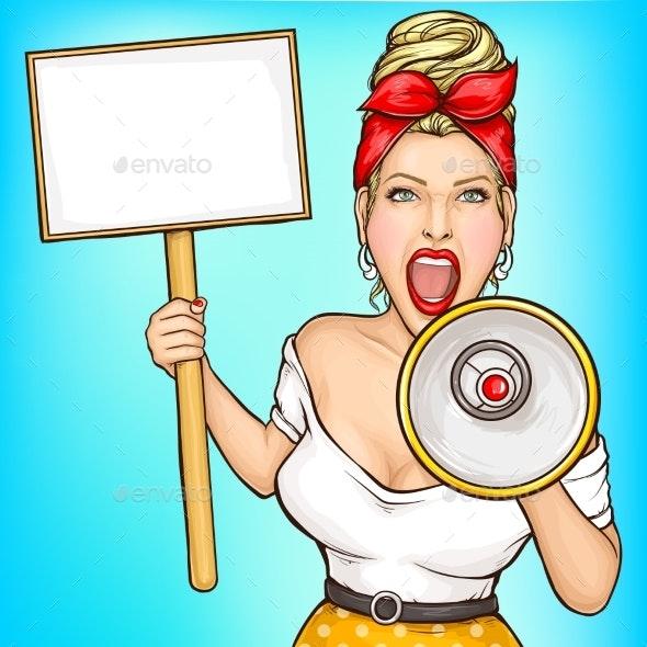 Woman with Placard Screaming in Loudspeaker Vector - People Characters