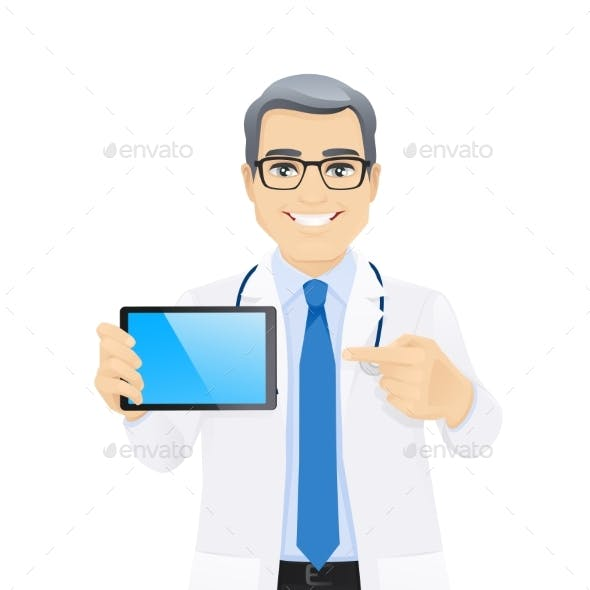 Male Doctor Showing Tablet