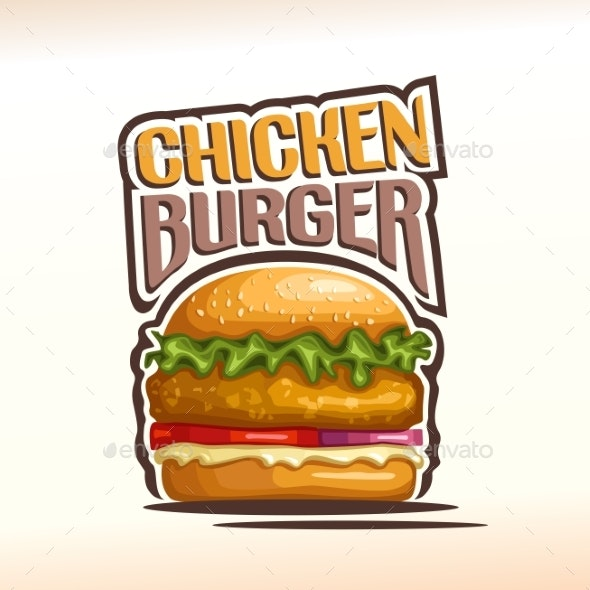 Vector Logo for Chicken Burger - Food Objects