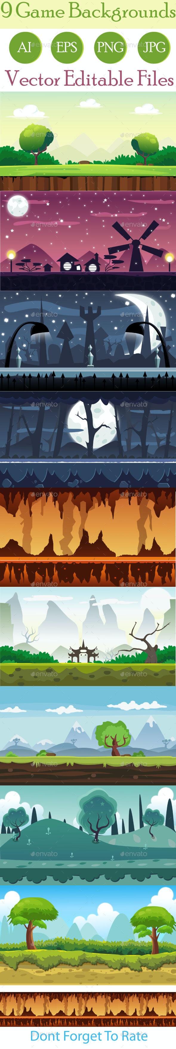 9 Game Background Set - Backgrounds Game Assets