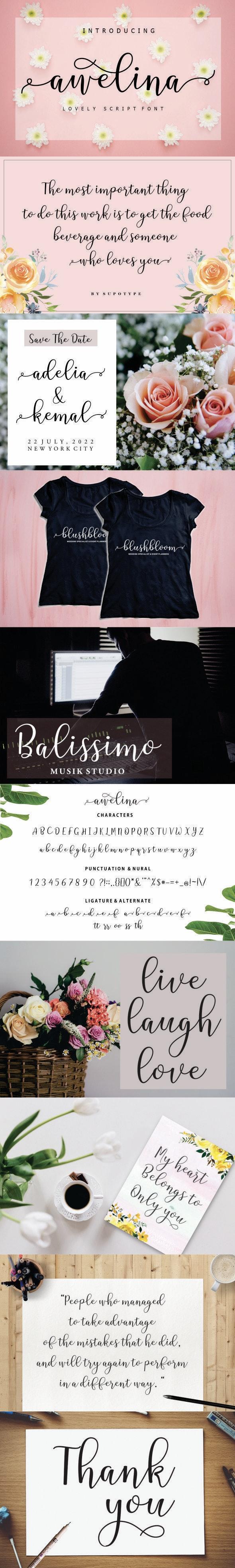 Awelina Script - Script Fonts