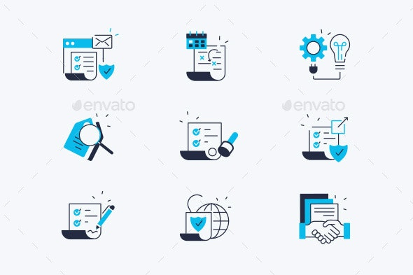 Contract Line Icons Set - Miscellaneous Vectors