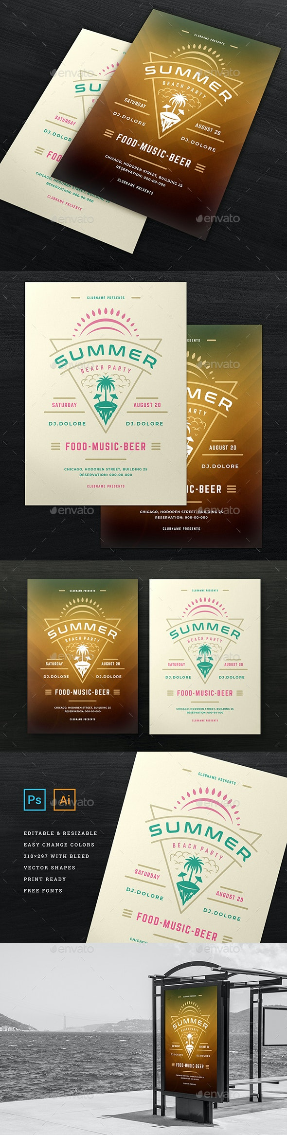 Summer Beach Party Flyer Template - Flyers Print Templates