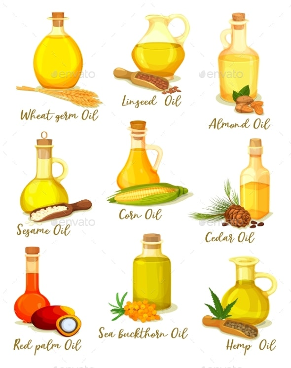 Set of Isolated Bottles or Jars with Different Oil - Food Objects