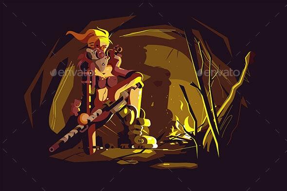 Postapokalipsis Girl on City Ruins - Miscellaneous Vectors