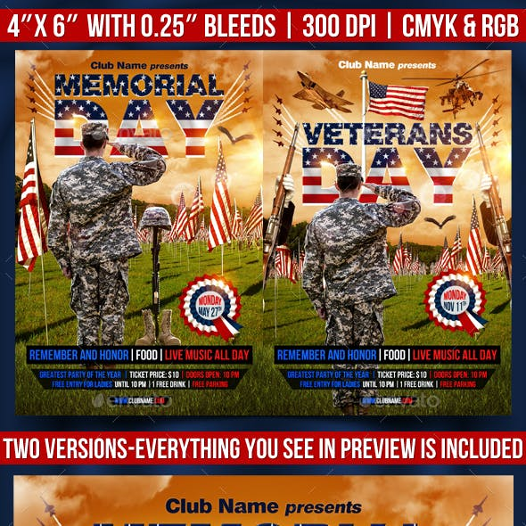 Memorial and Veterans Day Flyer Template