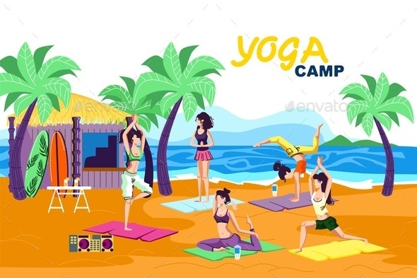 Invitation Flyer is Written Yoga Camp Cartoon. - Seasons/Holidays Conceptual