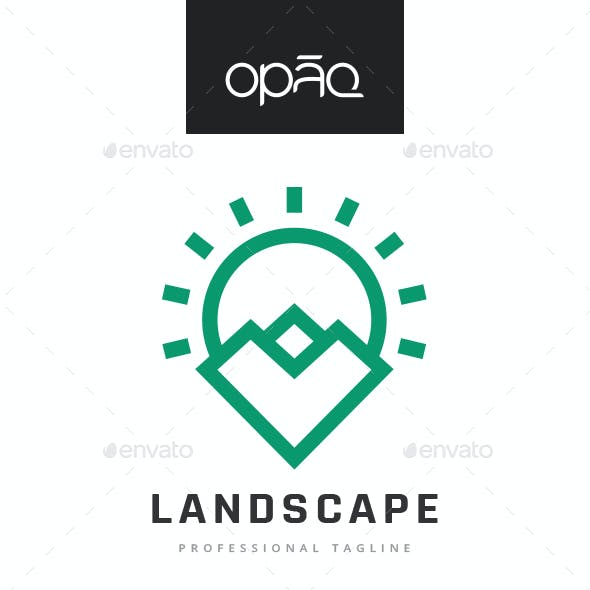 Mountain Sun Landscape Logo