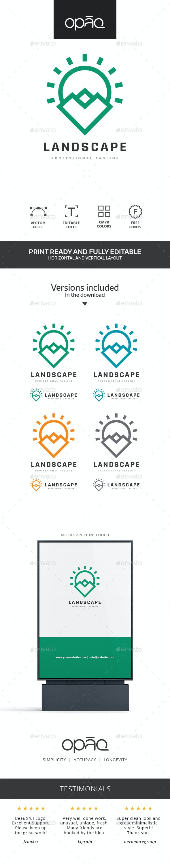 Mountain Sun Landscape Logo - Nature Logo Templates