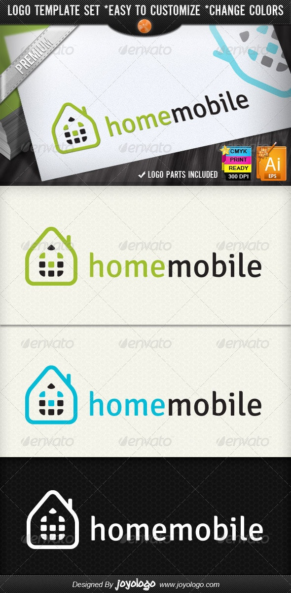 Smart Phone Networking Home Mobile Logo Designs - Buildings Logo Templates