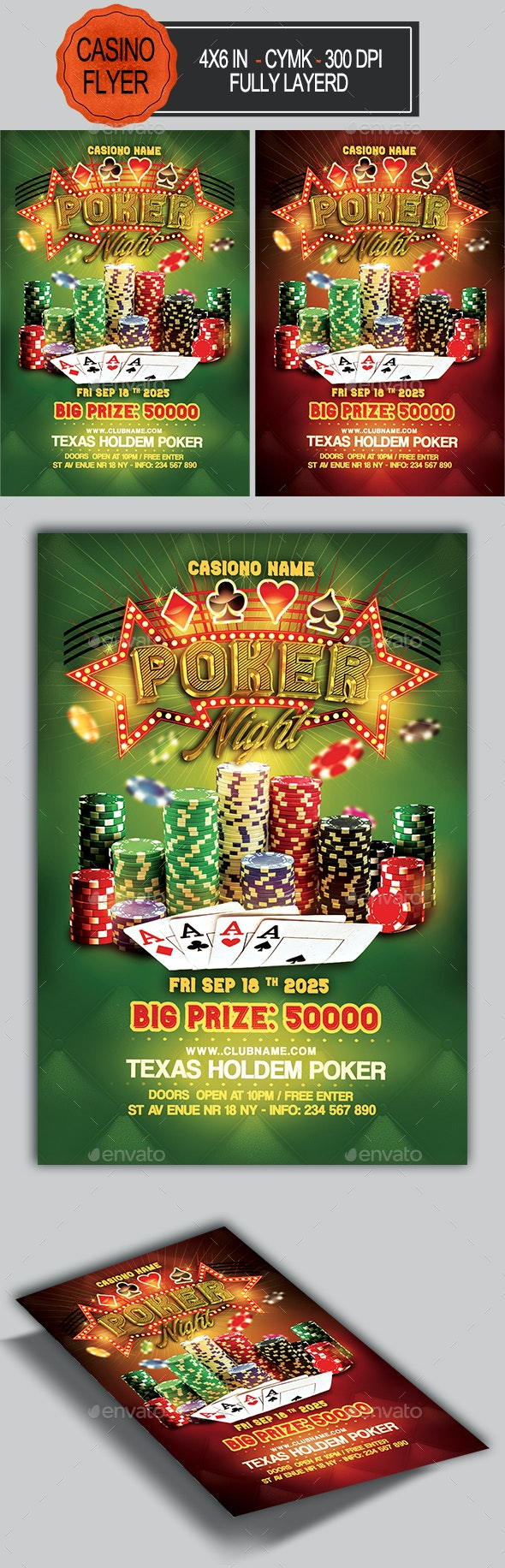 Poker Night Flyer Template - Clubs & Parties Events