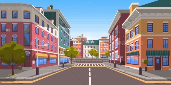 Street of Modern Empty City with Zebra Crossing - Buildings Objects