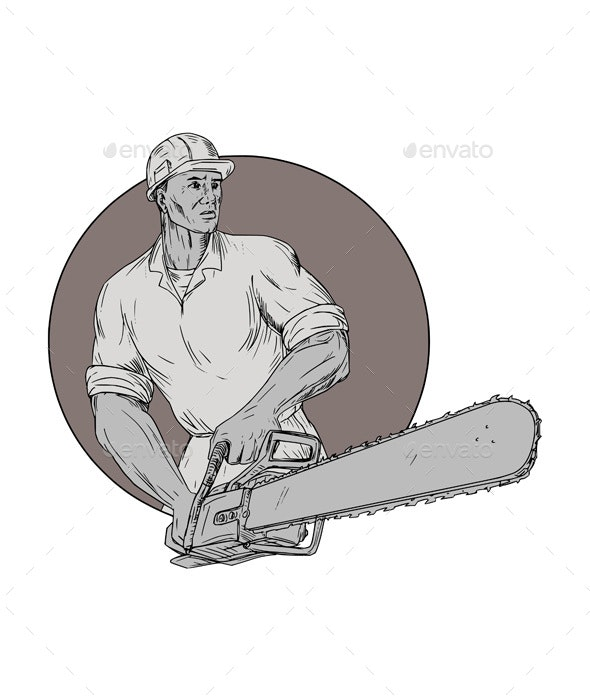 Lumberjack Arborist Holding Chainsaw Oval Drawing - Industries Business