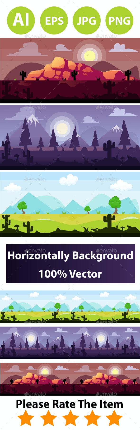 Game Background Set - Backgrounds Game Assets