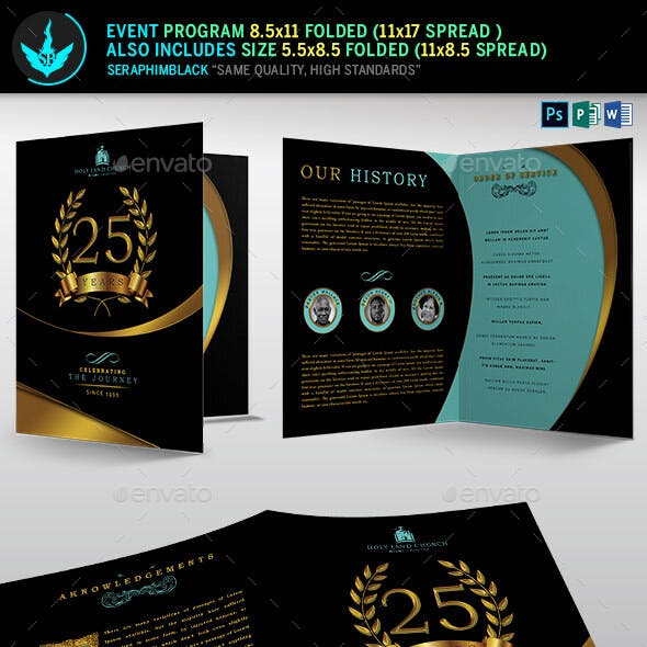 Gold Black plus Teal Anniversary Program Template