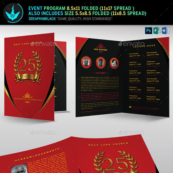 Crimson Gold plus Black Anniversary Program Template