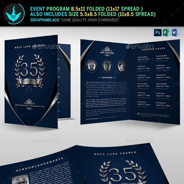 Silver Navy Blue Anniversary Program