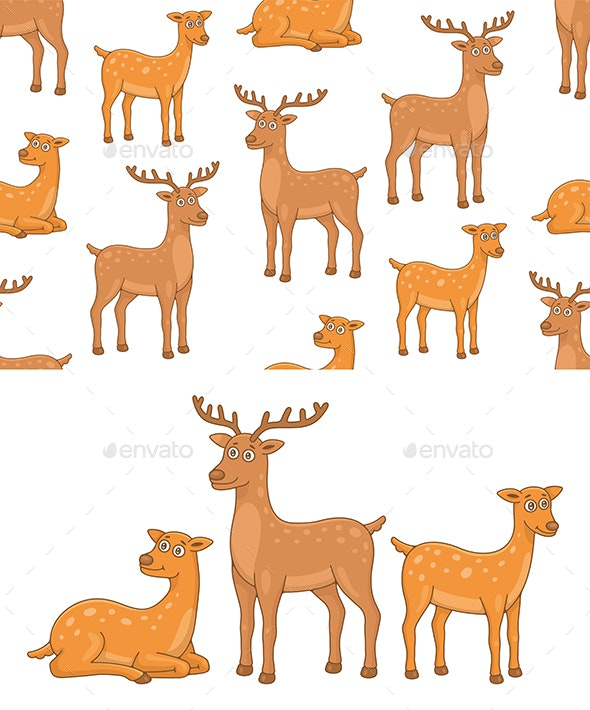 Set of Deers and Pattern - Animals Characters