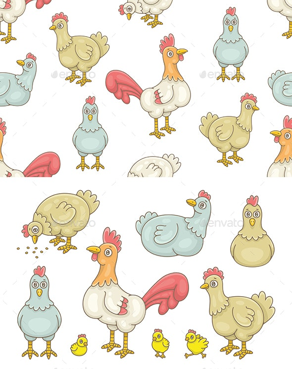 Set of Cocks and Hens and Pattern - Animals Characters