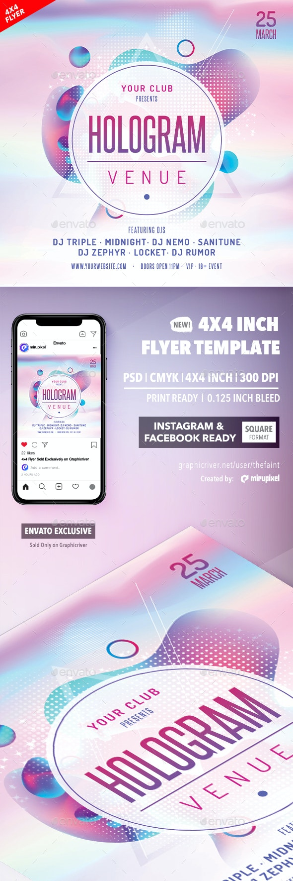 Hologram Venue 4x4 Inch Flyer Template - Clubs & Parties Events
