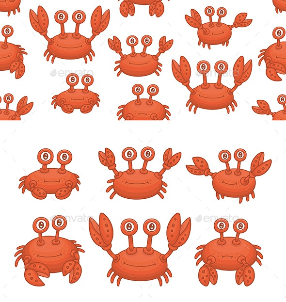 Set of Crabs and Pattern - Animals Characters