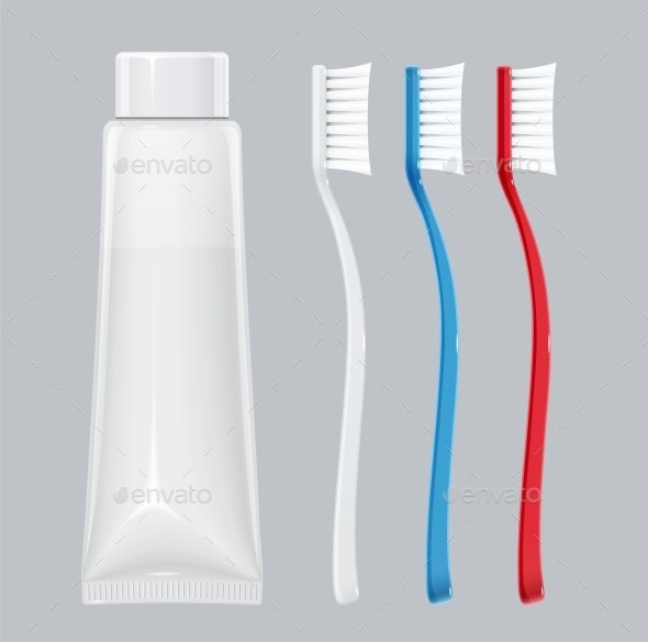 Toothbrush with Toothpaste Tube - Man-made Objects Objects