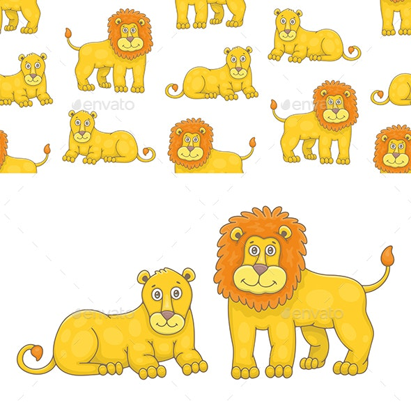 Set of Lion and Lioness and Pattern - Animals Characters