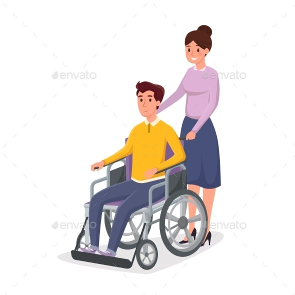 Helping Disabled Individual Vector Illustration - People Characters