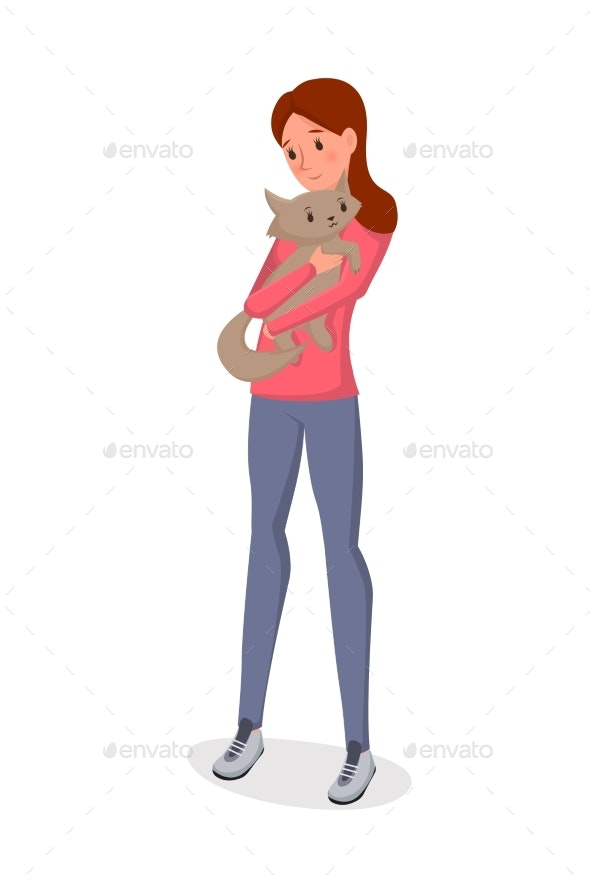 Girl Holding Cat Flat Vector Illustration - Animals Characters