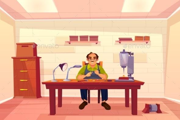 Jeweler Working in Workshop - People Characters